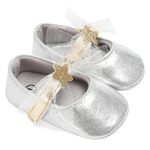 Baby Girls Sparkly Stars Mary Jane with Lace Bowknot Wedding Princess Dress Shoe Silver Size M by LINKEY
