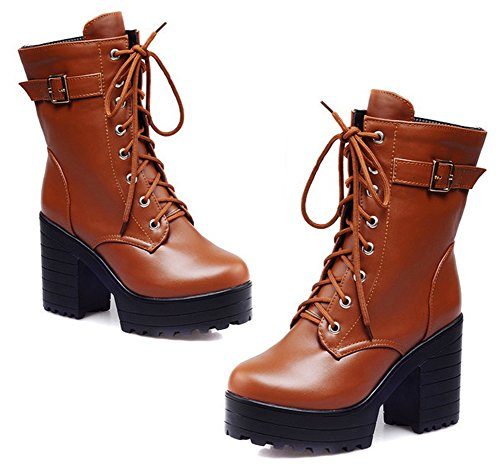 Aisun Women's Stylish Lace Up High Top Buckle Strap Round Toe Short Boots Platform High Block Heel Ankle Booties - stylishcombatboots.com