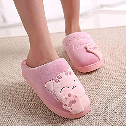 8ea6ae11185c7 Image Unavailable. Image not available for. Color: Mink Monk Winter  Slippers Women Plush Home Cute Cat Slippers Warm Indoor Ladies Shoes House  Lovely
