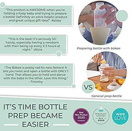 Soft White Bottle Prep Accessory to Prepare Any Bottle or Sippy Cup with Just One Hand. Baby Bottle Holder The b/ökee