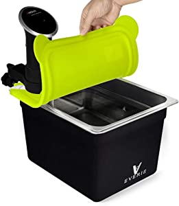 EVERIE Sous Vide Container 12 Quart with Silicone Collapsible Lid and Neoprene Sleeve for Anova 800w 900w and AN500-US00 1000w