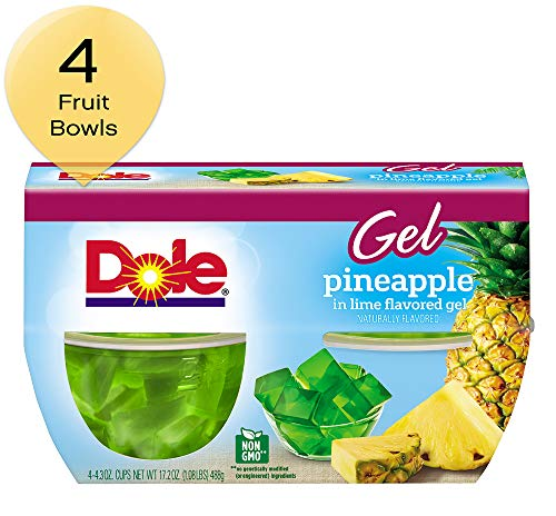 DOLE FRUIT BOWLS, Pineapple in Lime Flavored Gel, 4.3 Ounce (4 Cups) ()