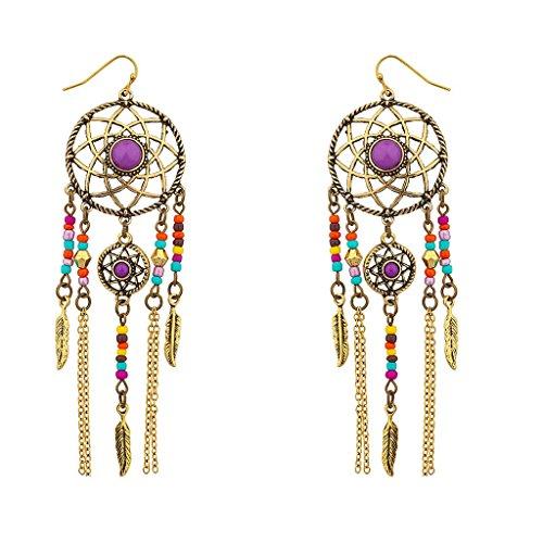 [Lux Accessories Multi color Navajo dream catcher dangle earrings] (Ladies Ring Leader Costume)
