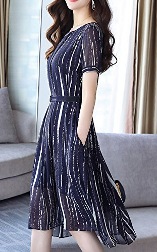 fte Longue Cocktail sans Girl Manche Taille Soie Robe s8809 de Femme soire Bleu Robe midi Grande E FYp8qwx8