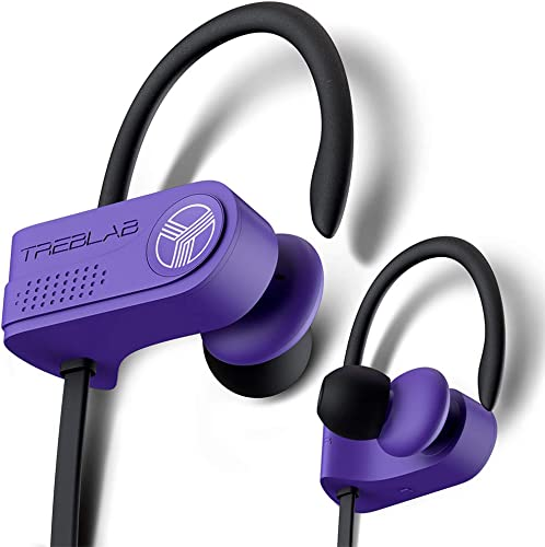 TREBLAB XR700 Wireless Sports Earbuds – Custom Adjustable Earhooks, PRO Running Bluetooth 5.0 Headphones for Athletes. IPX7 Waterproof, Sweatproof, in-Ear Headset, Noise Cancelling Earphones Purple