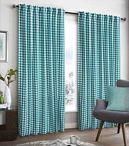 - Farm House Curtain in Buffalo check Plaid cotton fabric 50x84 -Teal/White, Cotton Curtains,2 Panels Curtain, Tab Top curtains,Curtains Set of 2, Gingham Check Curtain, Gingham check curtain panel