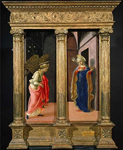 'Fra Filippo Lippi - The Annunciation, C. 1440' Oil Painting, 10x12 Inch / 25x31 Cm ,printed On High Quality Polyster Canvas ,this High Quality Art Decorative Canvas Prints Is Perfectly Suitalbe For Dining Room Gallery Art And Home Gallery Art And Gifts