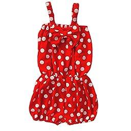 Unique Baby Girls Polka Dot Romper 0-6 Months Red
