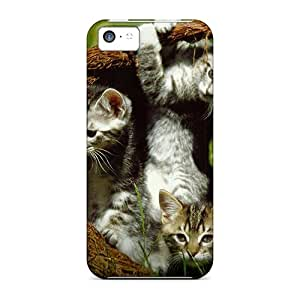 Iphone 5c Case, Premium Protective Case With Awesome Look - Four Kittens In A Basket