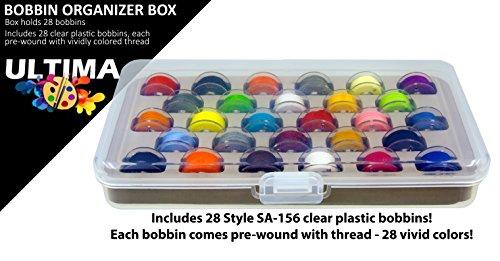 Ultima Bobbin Box with 28 Bobbins - Plastic Bobbin Storage Boxes - Plastic Bobbins - Threaded Bobbins - Sewing Notions, Quilting Accessories (Bobbin Box w/28 Colored Pre-Wound Bobbins) by Ultima