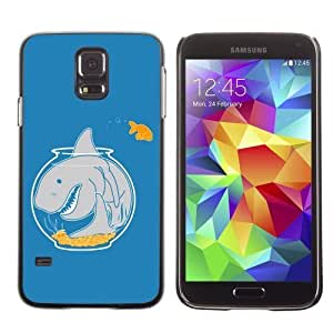 Licase Hard Protective Case Skin Cover for Samsung Galaxy S5 - Goldfish & Shark