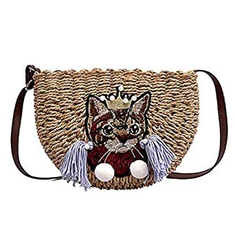 TOOGOO New Handmade Straw Bag Casual Beach Bag Woven Basket Casual Shoulder Handbag Brown