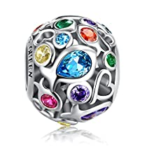 Rainbow Charm for Pandora Charm Bracelet, 925 Sterling Silver Openwork Beads Colorful Bead Charm with Skin-Friendly Fish Cubic Zircon Stone, Perfect for Bracelet NecklaceFQ0001