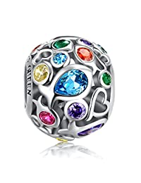 Rainbow Charm & Hot Air Balloon Charm for Pandora Charm Bracelet, 925 Sterling Silver Openwork Beads Charm with Skin-Colorful Cubic Zircon Stone, Perfect for Bracelet Necklace