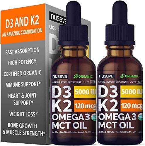 (2 Pack) Organic Vitamin D3 K2 Drops w MCT Oil Omega 3, 5000 IU, Maximum Strength Vitamin D Liquid 5000 IU, No Fillers…