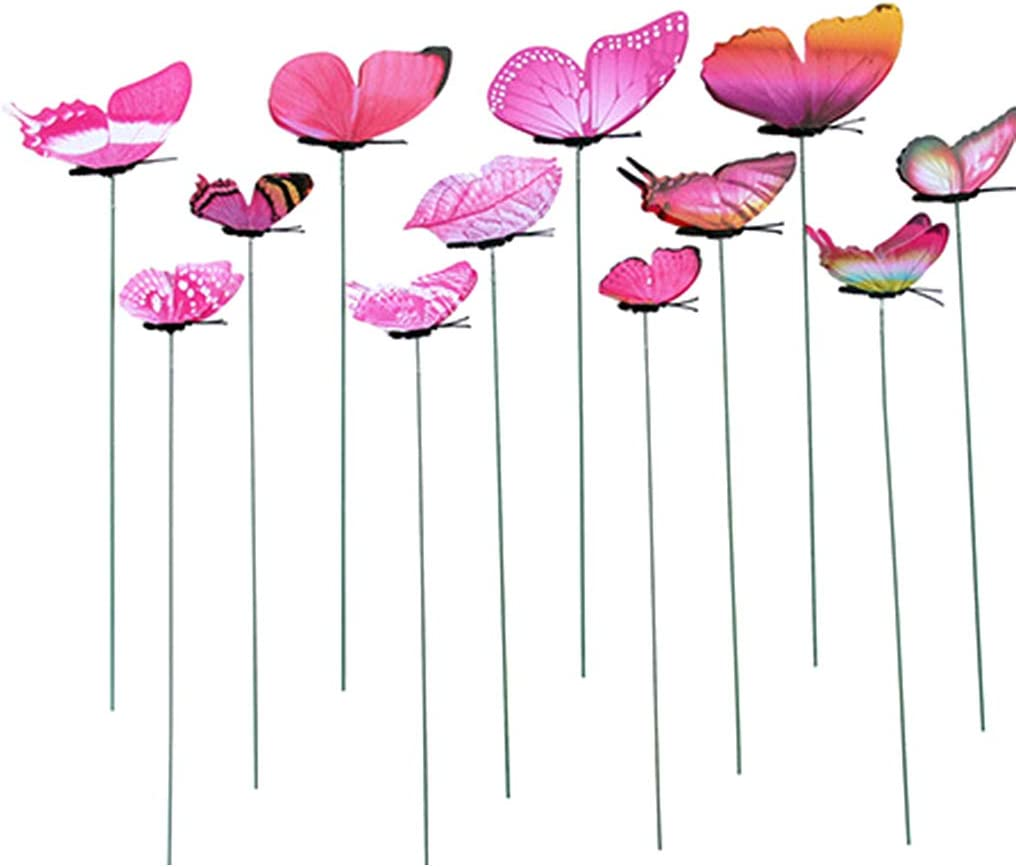 Ycncixwd 12 St/ücke K/ünstliche Schmetterling Dekorationen Garten Hof Rasen Terrasse Outdoor Kunst Ornamente Zuf/ällige Farbe Dekorative Handwerk