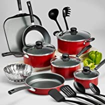 Tramontina PrimaWare 18-Piece Nonstick Cookware Set, Red