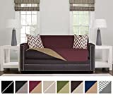 Sofa Shield Original Reversible Couch Slipcover Furniture Protector, Seat Width Up to 54'', 2 Inch Strap, Machine Washable, Slip Cover Throw for Pets, Dogs, Kids (Loveseat: Burgundy/Tan)