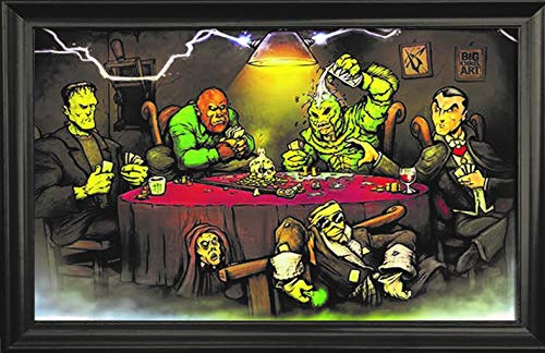 Monsters Playing Poker Wall Art Textured Print Framed