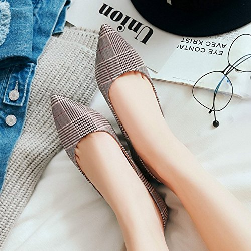 SJJH Court Shoes with Kitten Heel and Pointed Toe Fashion Diamond-Shaped Shoes Pink vU8IfdoX