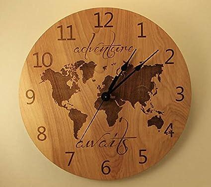 Amazon 105 inch adventure awaits clock wood clock wall clock 105 inch adventure awaits clock wood clock wall clock wooden wall clock plywood clock world map gumiabroncs Images