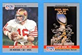 1990 Pro Set Football (Super Bowl #16) **** (2) Card Lot featuring Super Bowl MVP Joe Montana and Super Bowl Program Cover (49ers) (Bengals)