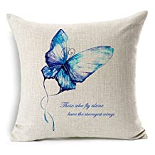 Abstract Nature Butterfly Cotton Linen Decorative Throw Pillow Case Cushion Cover, 17.7 x 17.7inches