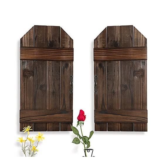 """DOCMON Rustic Wall Decor-Home Decor -Farmhouse Decor-Vintage Decorative Shutter Set for Room Decor (Brown, 15.7X7.8X1) - 100% Upcycled, reclaimed wood. Use for interior or exterior decor Rustic reflections wood metal wall plaque, door-inspired wooden plaque, features slat-type doors with brown fir wood and handles Dimensions measure 16""""x 8""""x 0.3"""" - living-room-decor, living-room, home-decor - 51AKSjvjg6L. SS570  -"""