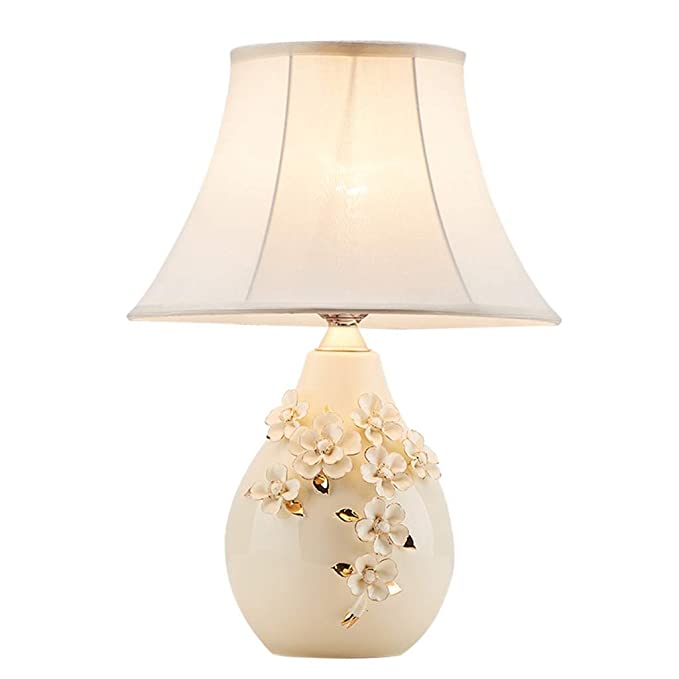 Desk Lamps Crema de cerámica lámpara de Mesa, Tallado Rosas de ...