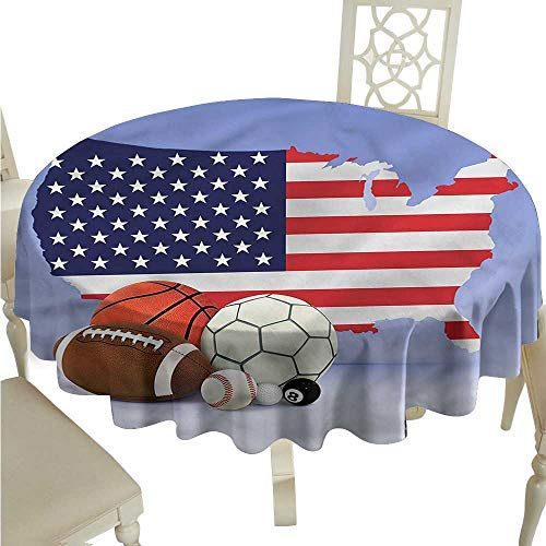 Printed Tablecloth Americana,Map Sports Theme Balls Outdoor Picnics Round Tablecloth D 36""