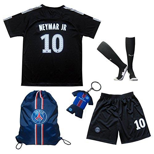 2017/2018 PSG Paris Saint Germain Third Black #10 NEYMAR JR. Football Futbol Soccer Kids Jersey Shorts Socks Set Youth Sizes