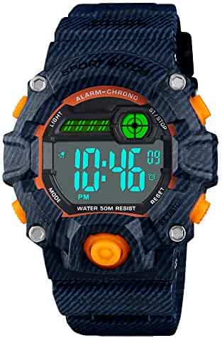 Venhoo Digital Kids Watches Outdoor Sport Waterproof Electronic EL-Light with Alarm Stopwatch Luminous Casual Military Wrist Watch for Kids Boys Girls