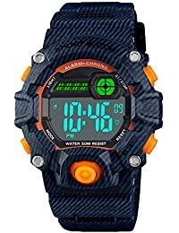 Digital Kids Watches Outdoor Sport Waterproof Electronic EL-Light with Alarm Stopwatch Luminous Casual Military Wrist Watch for Kids Boys Girls
