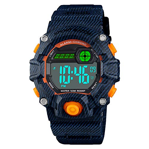 - Venhoo Kids Digital Watches Outdoor Sport Waterproof Electronic LED Alarm Stopwatch Wrist Watch for Kids Boys Girls-Denim Blue