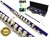 D'Luca 400PR 400 Series 16 Closed Hole C Flute with Offset G and Split E Mechanism, Case, Cleaning Kit, Purple