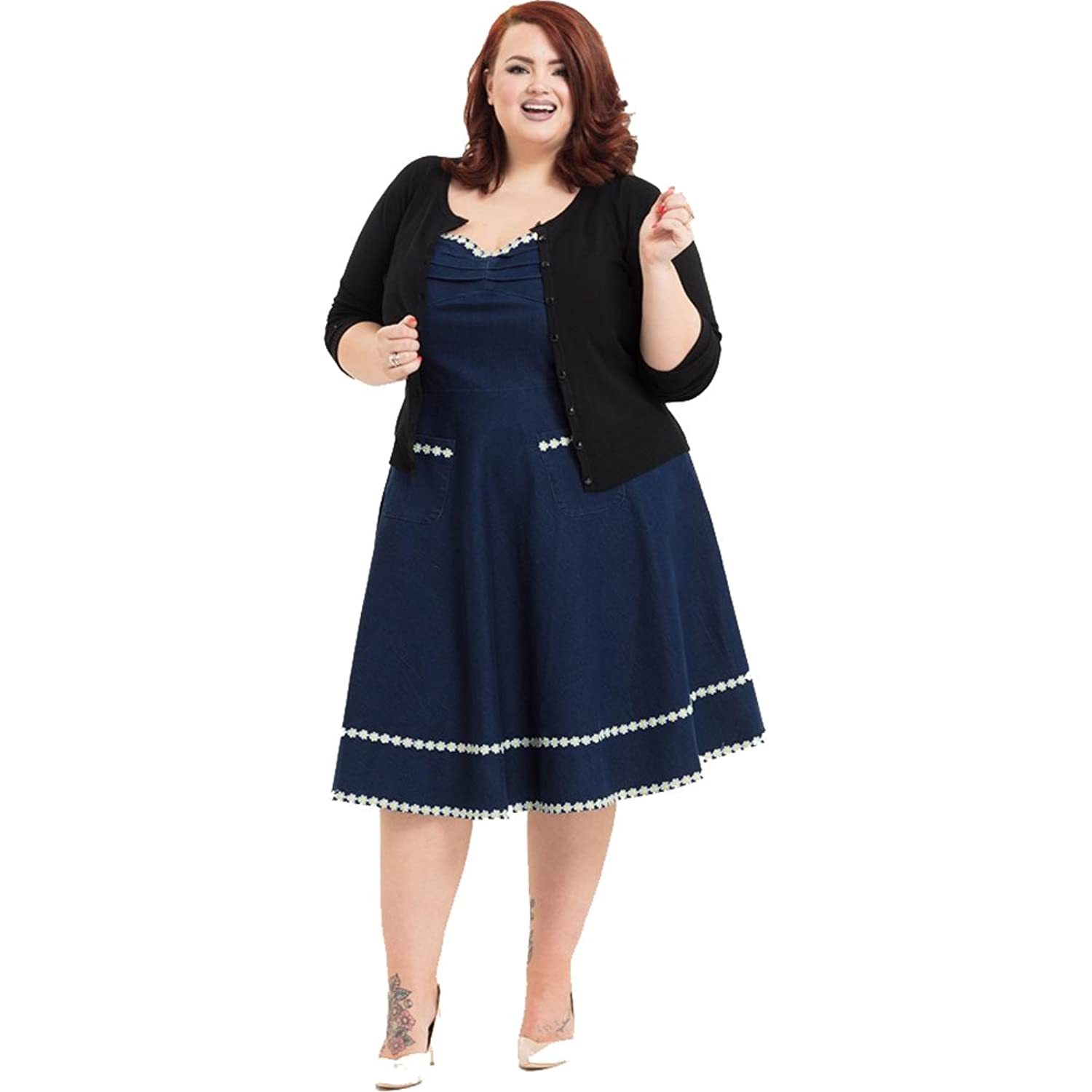 Sailor Dresses, Nautical Dress, Pin Up & WW2 Dresses Voodoo Vixen Daisy May Denim Flaired Dress Plus Size Blue $85.99 AT vintagedancer.com