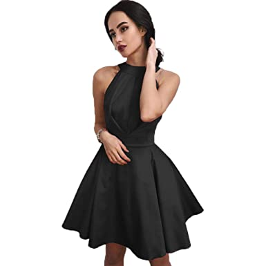Fashionbride Womens Short Formal Dress Open Back A Line Satin Cheap Homecoming Dresses ED91 Black-