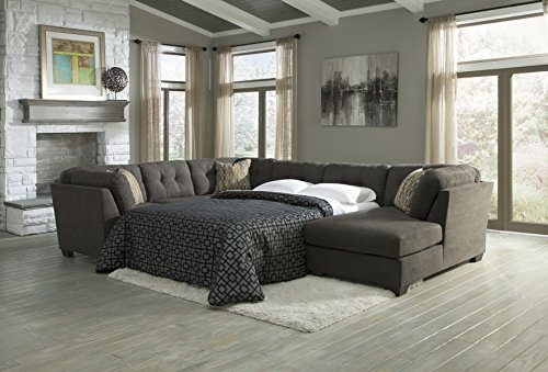 Ashley Furniture Signature Design - Delta City Contemporary 3-Piece Sectional - Right Arm Facing Corner Chaise, Sofa, Armless Full Sleeper - Steel