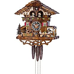 German Cuckoo Clock 1-day-movement Chalet-Style 12.50 inch - Authentic black forest cuckoo clock by Hönes