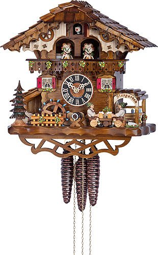 Bird 1 Day Cuckoo Clock - German Cuckoo Clock 1-day-movement Chalet-Style 12.50 inch - Authentic black forest cuckoo clock by Hönes