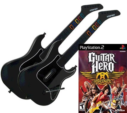 Guitar Hero Aerosmith for PS2 + 2 x Guitar Hero Wireless Kramer Striker Guitar Controller for PS2