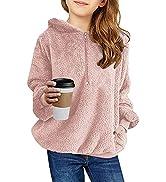 Ofenbuy Kids Girl's Fuzzy Hoodies Zipper Warm Loose Sherpa Hooded Sweatshirt Pullover With Pockets