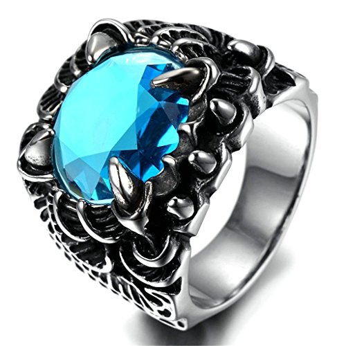 KnSam Men Stainless Steel Band Rings Oval Blue Crystal Comfort Fit Black Silver Size 10