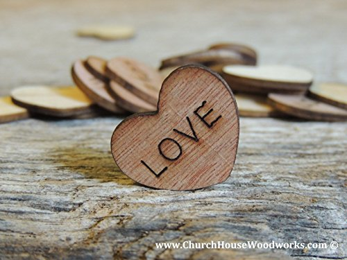 Wooden Heart Confetti ~ Love ~ Wood Hearts, Wood Confetti Engraved Love Hearts- Rustic Wedding Decor (100 count)