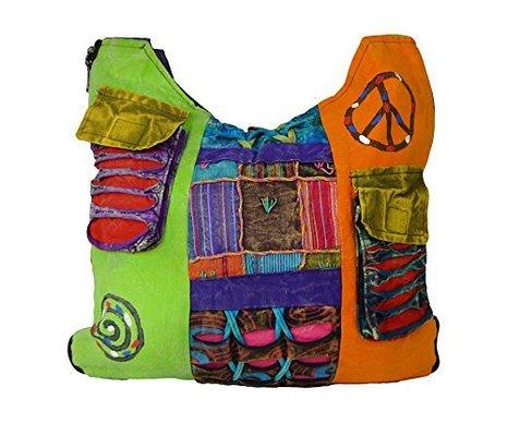 BAGS0001 Multicolour Hippie bag Ladies style shoulder long multicoloured Sn0qqwdHY