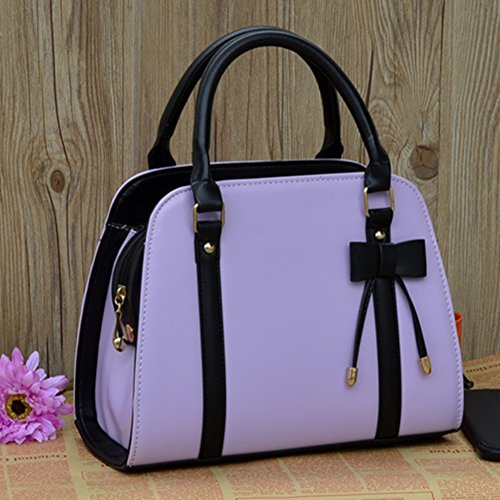 Ladies Leather Tote Handbag Purple Bag Yellow Bowknot Crossbody Messenger Profusion circle Women Shoulder qCaffw