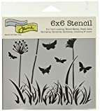 The Crafter's Workshop Stencil Butterfly Meadow, 6'' x 6''