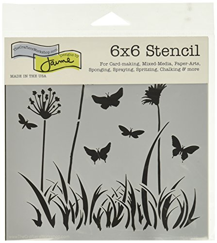 The Crafter's Workshop Stencil Butterfly Meadow, 6'' x 6'' by The Crafter's Workshop