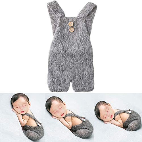 Baby Photography Props Boy Girl Photo Shoot Outfits Newborn Crochet Costume Infant Knitted Clothes Mohair Rompers (Grey)