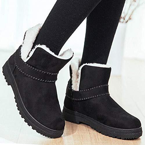 Cálidas Tobillo Plantilla Tacones Moda Zapatos Botas Invierno Cálida Nieve De Pingxiannv Mujer Negro xnZI0fqf